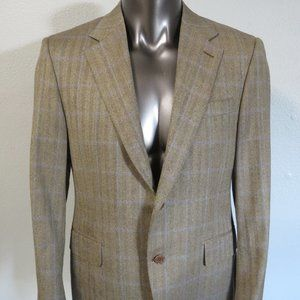 Canali Brown Blue Window Pane 2 Button Blazer 40R